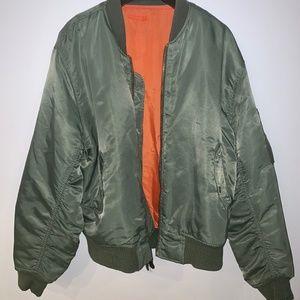 Vintage Oversized Olive Green Bomber Jacket